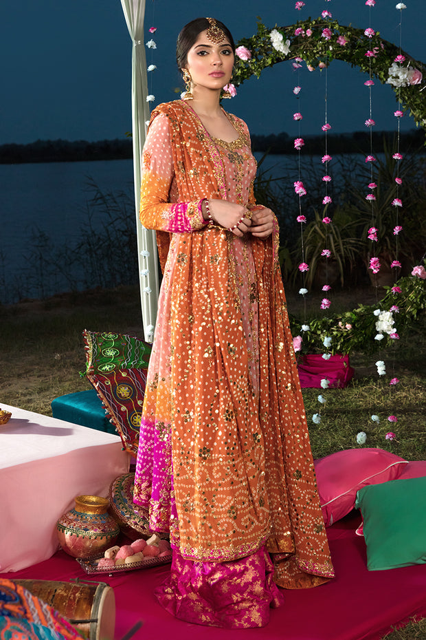 Pakistani Chunri Mehndi Dress in Orange Color #Y6065