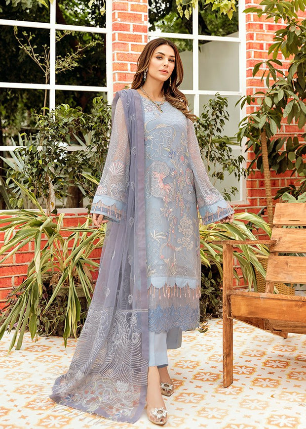 Pakistani Crinkle Chiffon Dress with Embroidery #Y6115