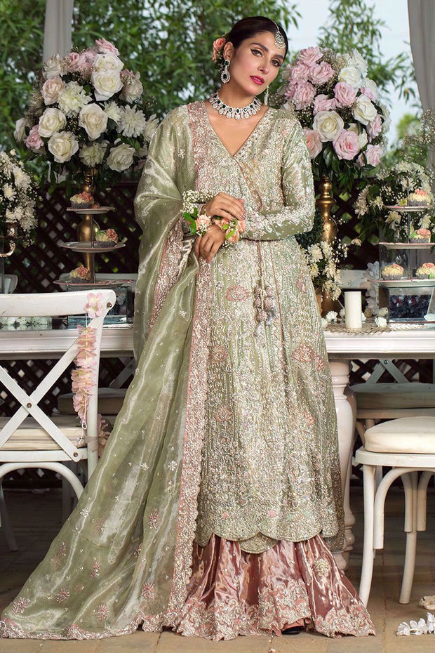 Pakistani Designer Angrakha Frock in Green Color