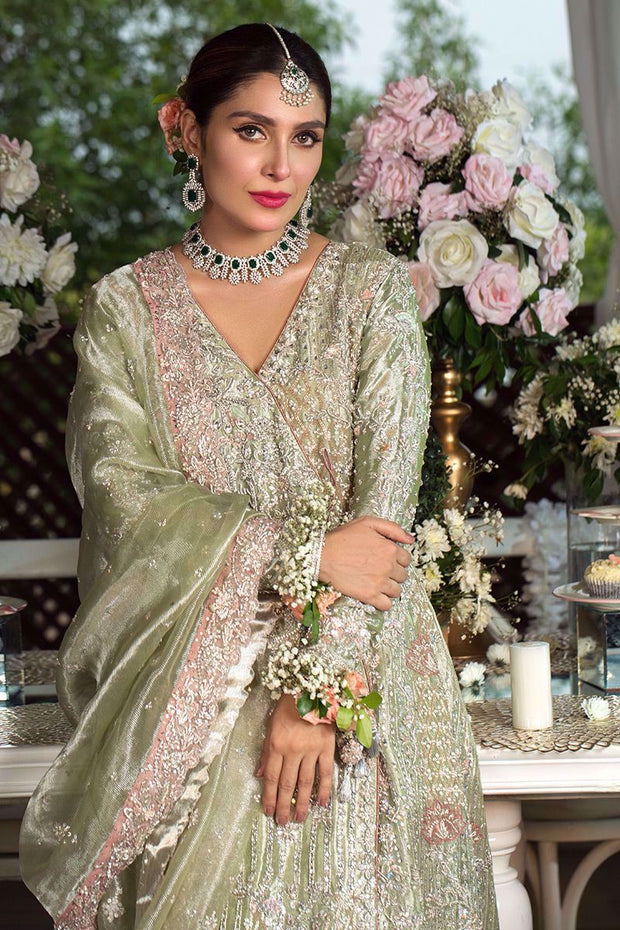 Pakistani Designer Angrakha Frock in Green Color #Y6064