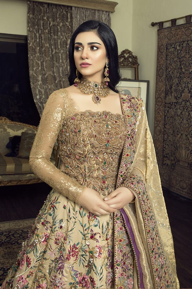 Pakistani Designer Bridal Long Maxi for Wedding Close Up