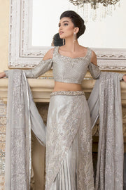 Pakistani Designer Bridal Saree in Silver Color