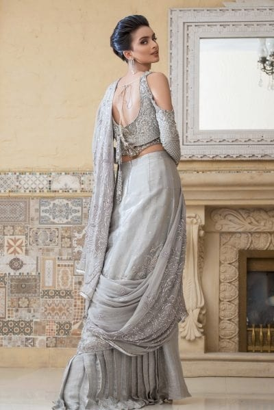 Pakistani Designer Bridal Saree in Silver Color Side Pose