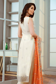 Pakistani Designer Chiffon Dress in White Color Backside View