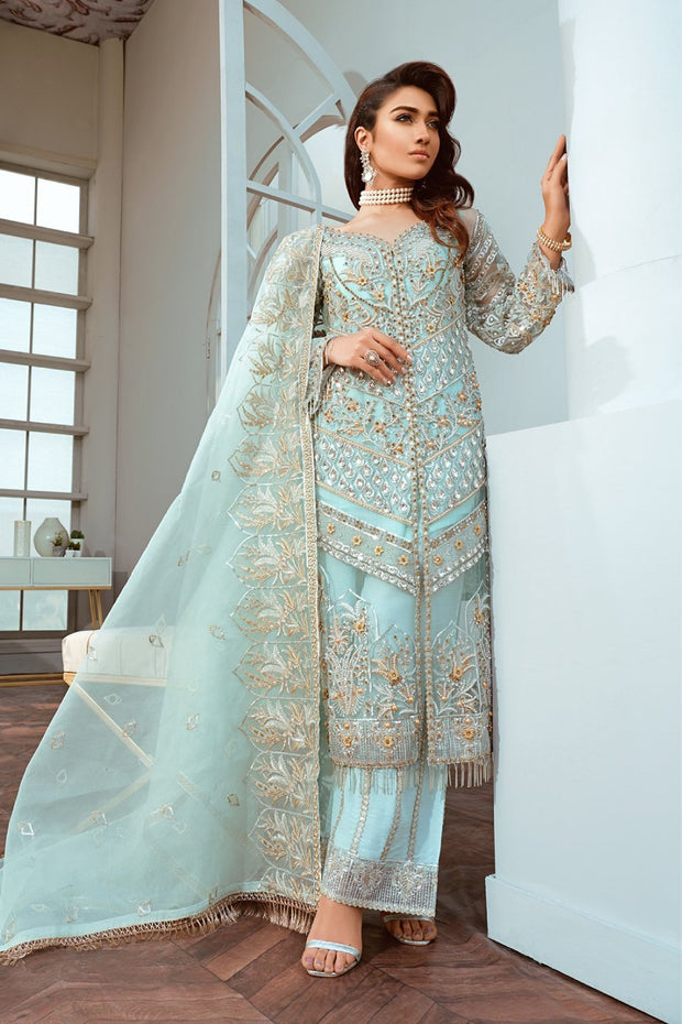 Pakistani Designer Chiffon Wear in Turquoise Color
