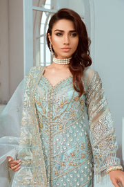 Pakistani Designer Chiffon Wear in Turquoise Color Close Up