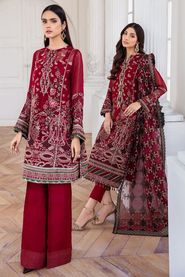 Pakistani Designer Jazmin Suit in Maroon Color