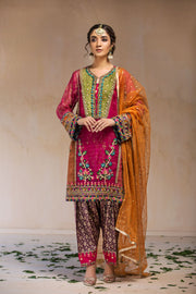Pakistani Designer Party Dress in Red Color