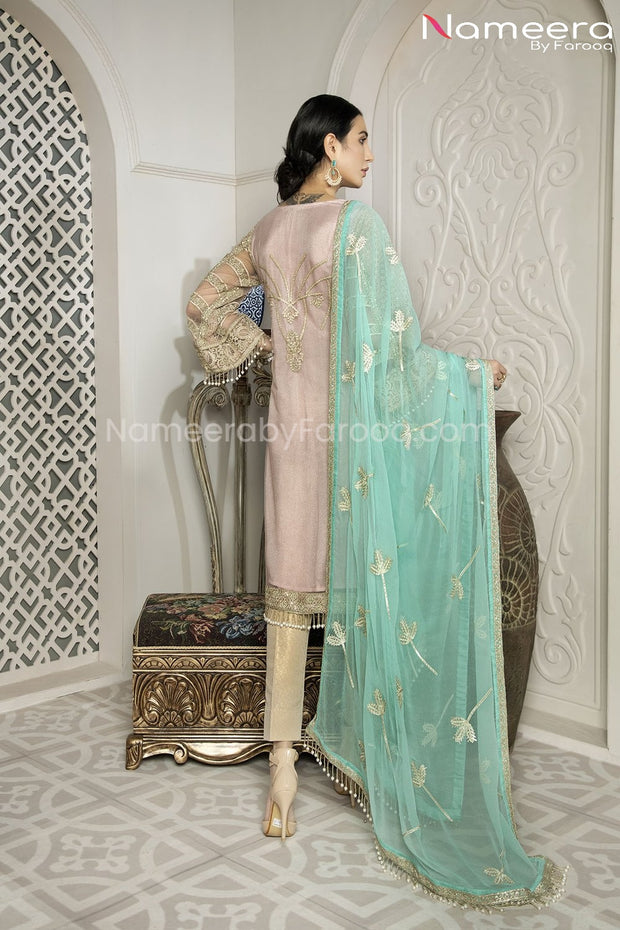 Pakistani Designer Party Wear Dress for Girls  Backside Look