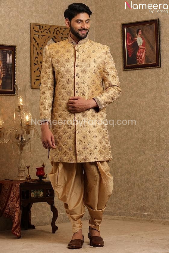 Pakistani Designer Sherwani for Groom Online Front Look