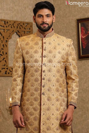Pakistani Designer Sherwani for Groom Online Closeup View