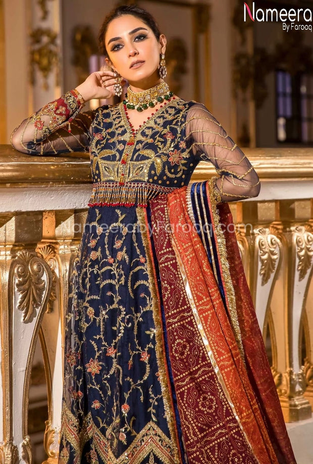 Pakistani Dress Frock for Wedding Party Close Up