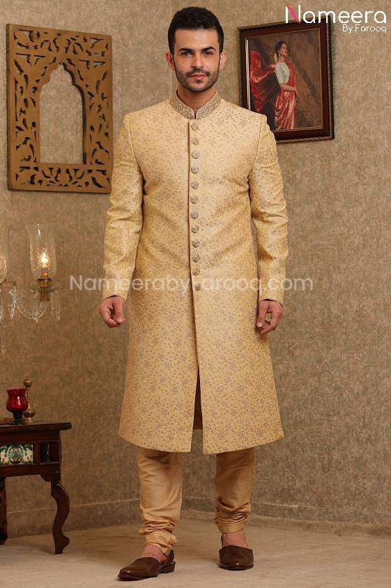 Pakistani Dulha Sherwani for Groom Online 2021 Front Look