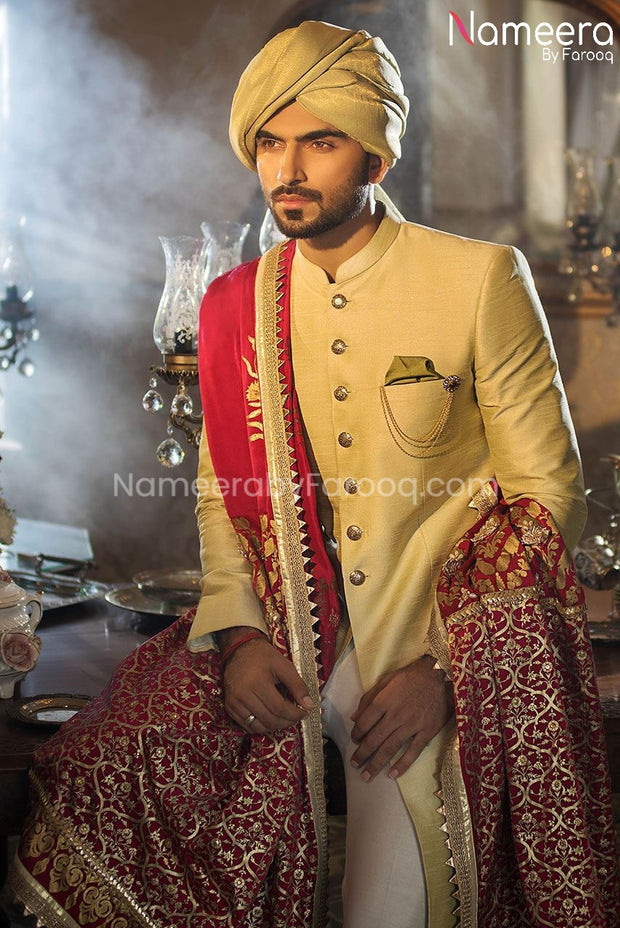 Pakistani Dulha Sherwani in Mint Green color 2021 Front and Shawl Look
