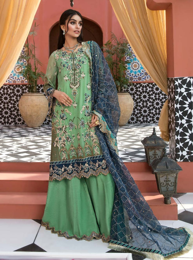 Pakistani Embroidered Short Shirt with Sharara