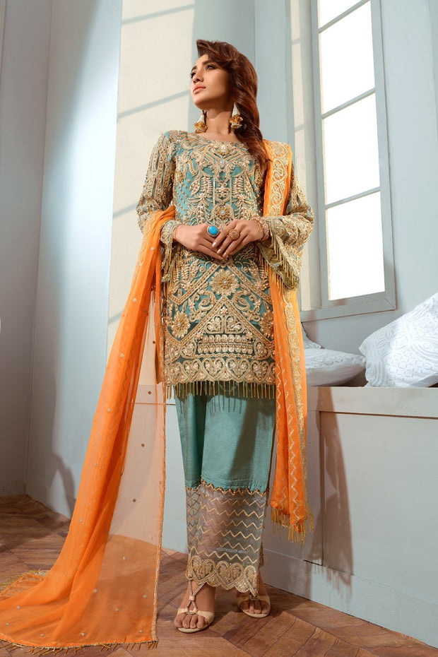 Pakistani Embroidred Chiffon Outfit in Turquoise Color