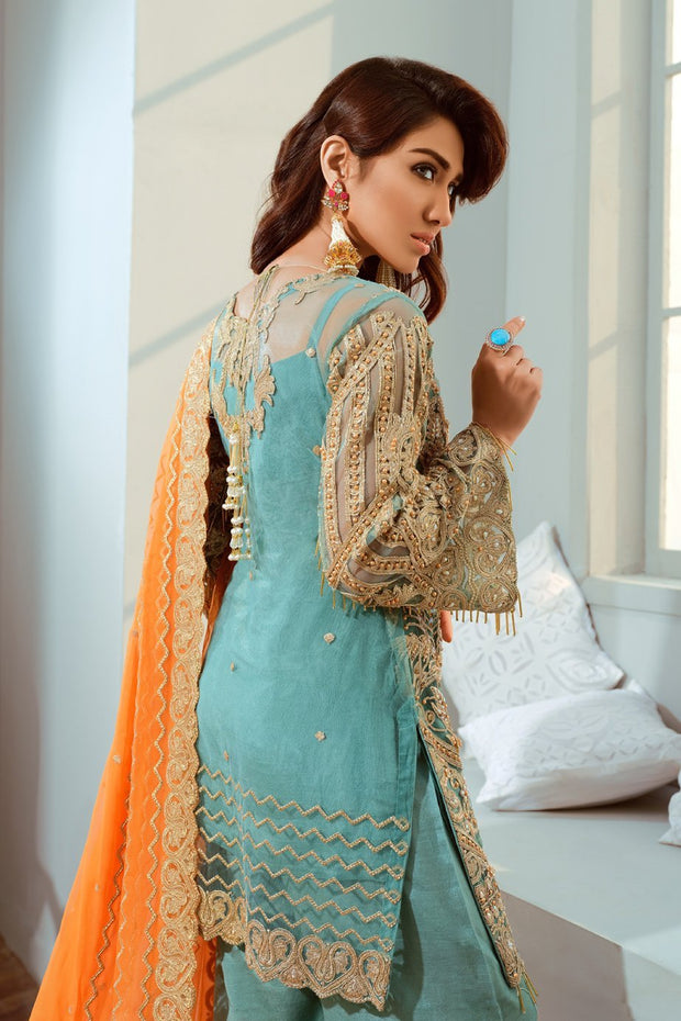 Pakistani Embroidred Chiffon Outfit in Turquoise Color Backside
