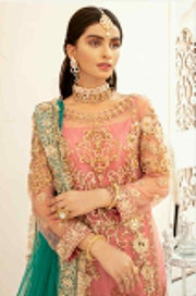 Pakistani Festive Chiffon Wear in Peachy Pink Colo
