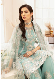 Pakistani Festive Party Gharara in Ice Blue Color
