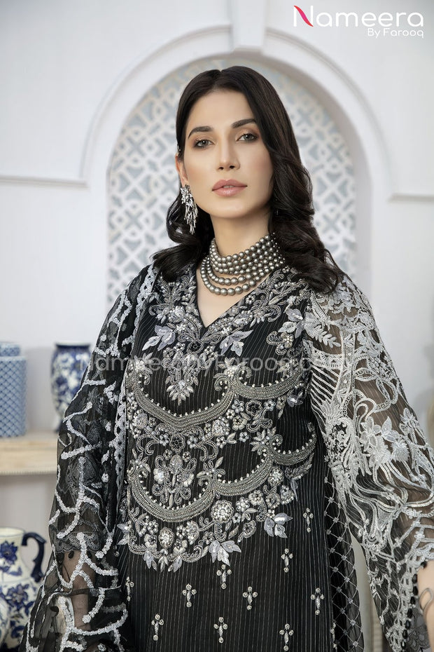 Pakistani Gharara Dress with Short Shirt Neckline View