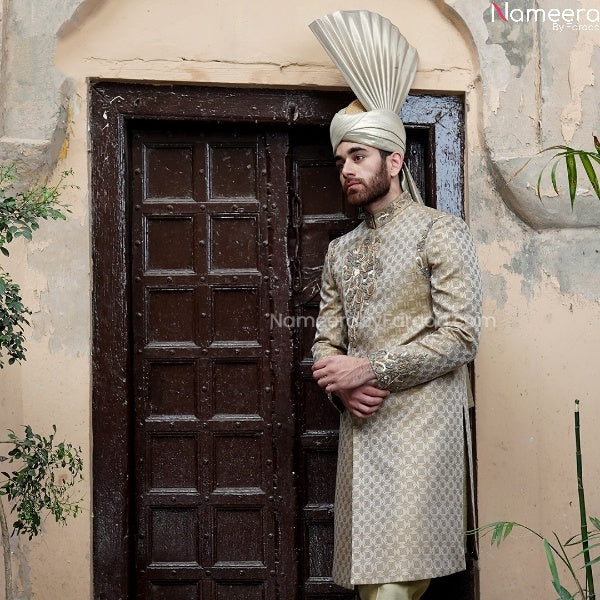 Pakistani Gold Sherwani Groom for Wedding Online Front Look