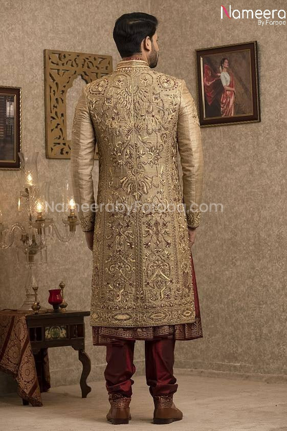 Pakistani Gold Sherwani for Groom with Red Shawl  Backside Look