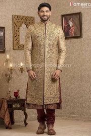 Pakistani Gold Sherwani for Groom with Red Shawl