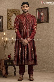 Pakistani Gold Sherwani for Groom with Red Shawl Inner