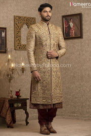 Pakistani Gold Sherwani for Groom with Red Shawl Overall Look