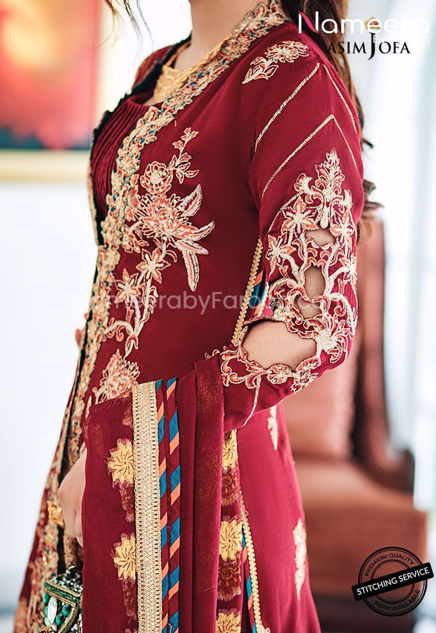 Pakistani Gown Dress for Wedding Party 2021 Cutwork Sleeves