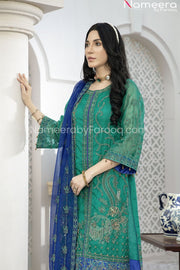 Pakistani Green Chiffon Dress for Wedding Party Side Pose