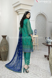 Pakistani Green Chiffon Dress for Wedding Party Backside Look