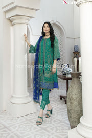 Pakistani Green Chiffon Dress for Wedding Party