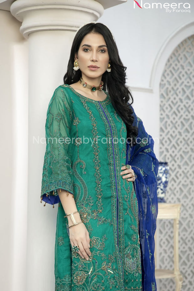 Pakistani Green Chiffon Dress for Wedding Party Close Look