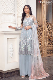 Pakistani Grey Floral Maxi Dress for Party 2021 Front Look