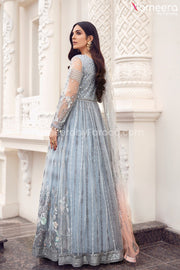 Pakistani Grey Floral Maxi Dress for Party 2021 Backside Look