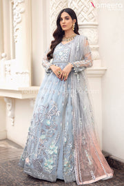 Pakistani Grey Floral Maxi Dress for Party 2021