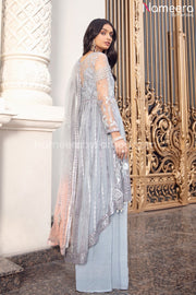 Pakistani Grey Floral Maxi Dress for Party 2021 Side Look