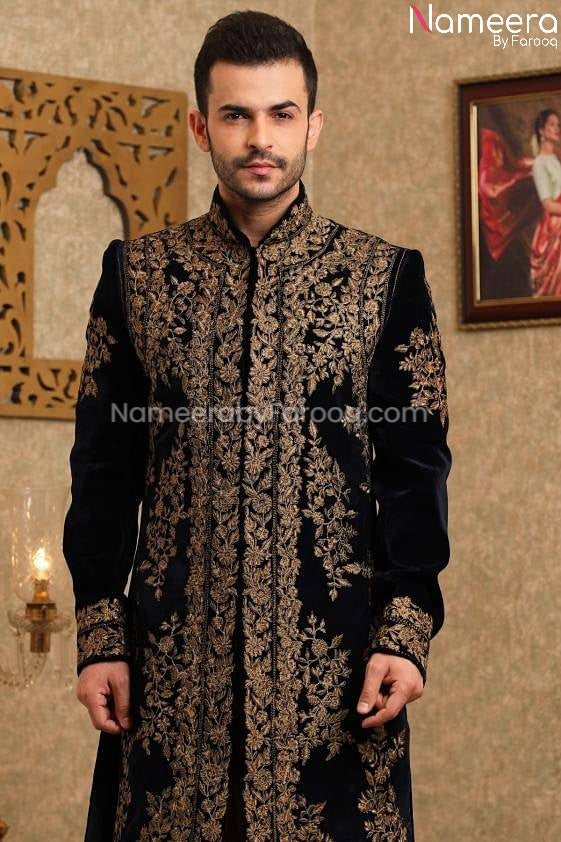 Pakistani Latest Sherwani Design for Groom 2021 Close Up View