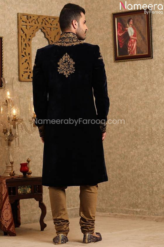 Pakistani Latest Sherwani Design for Groom 2021 Back Side View