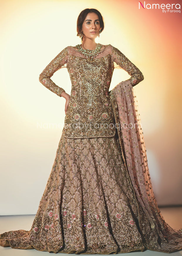 Pakistani Lehenga with Short Kurti for Bridal Front Look