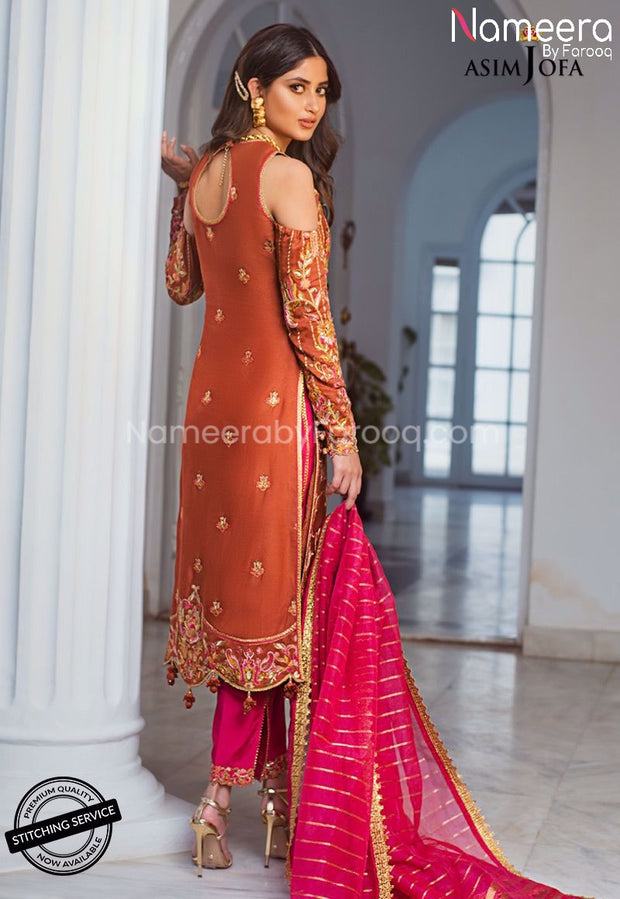 Pakistani Dress for Wedding Party Female Online Backside View