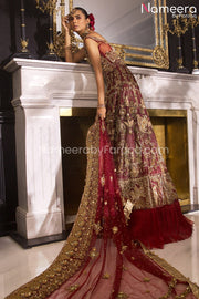 Pakistani Maroon Bridal Dress