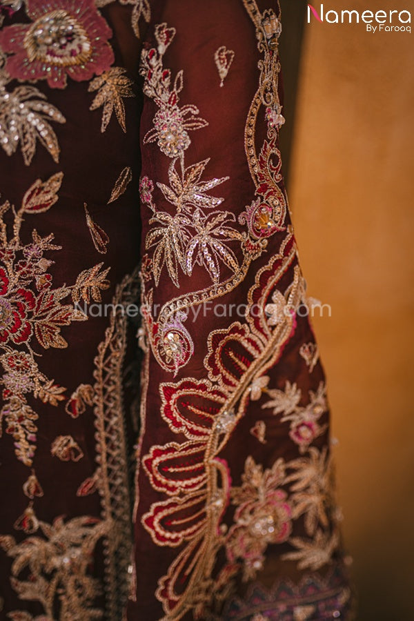 Pakistani Maroon Color Dress for Wedding Party Sleeves Look