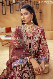 Pakistani Maroon Color Dress for Wedding Party Neckline Embroidery