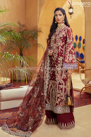 Pakistani Maroon Color Dress for Wedding Party