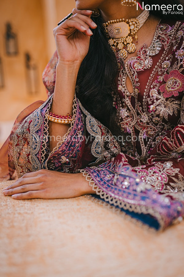 Pakistani Maroon Color Dress for Wedding Party CLose Up