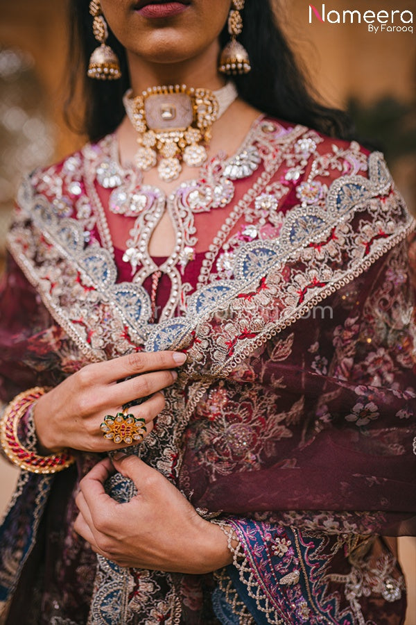 Pakistani Maroon Color Dress for Wedding Party Dupatta Look