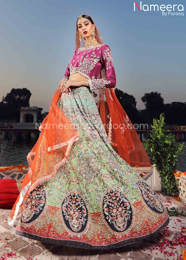 Pakistani Mehndi Dress for Girl with Embroidery