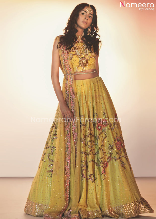 Pakistani Mehndi Ghagra Choli with Embroidery
